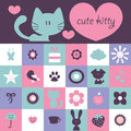Scrapbook design cute various elements kitty and Royalty Free Stock Photography