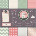 Scrapbook design elements teddy bear frames ribbon tag star flag and cute seamless backgrounds for or scrap booking Stock Images