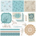 Scrapbook design elements vintage birds flowers Stock Photos