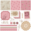 Scrapbook design elements vintage birds flowers Stock Images