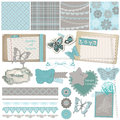 Scrapbook design elements vintage lace butterflies Stock Photo