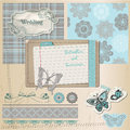 Scrapbook design elements vintage lace butterflies Stock Image