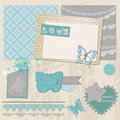 Scrapbook design elements vintage lace butterflies Royalty Free Stock Photo