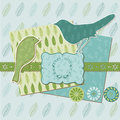 Scrapbook design elements vintage leaves birds Royalty Free Stock Image