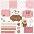 Scrapbook design elements - Vintage Love Set Stock Images