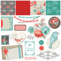 Scrapbook design elements vintage roses birds Royalty Free Stock Images
