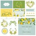 Scrapbook Design Elements. Wedding Summer Flower Set. Lemon Tags Royalty Free Stock Photo
