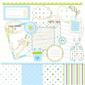 Scrapbook elements for baby boy Royalty Free Stock Photo