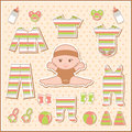 Scrapbook elements with baby clothes Royalty Free Stock Photos