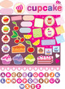 Scrapbook elements with cupcakes. Royalty Free Stock Images