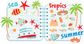 Scrapbook elements with tropics Royalty Free Stock Photo