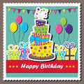 Scrapbook elements vector illustration of birthday card with topsy turvey cake Royalty Free Stock Images