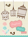 Scrapbook elements with vintage birdcage Royalty Free Stock Photo