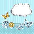 Scrapbook frame with flowers and butterflies editable vector set Stock Photo