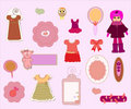 Scrapbook Girl Set - design elements Royalty Free Stock Images