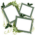 Scrapbook page green floral frames Royalty Free Stock Photography