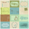 Scrapbook paper tags design elements vintage time Royalty Free Stock Photography