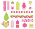 Scrapbook pink elements Stock Photo