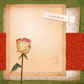 Scrapbook retro design with grunge paper background dried flower rose vintage wallpaper pattern sketch frame old ticket with text Stock Image