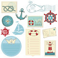 Scrapbook Sea elements Stock Images