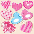 Scrapbook set of hearts in stitched textile style Royalty Free Stock Images