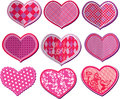 Scrapbook set of hearts in stitched textile style element Royalty Free Stock Image