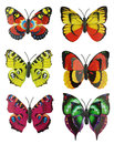 Scrapbook set of six multi-colored bright artificial butterflies Royalty Free Stock Photo