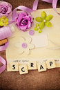 Scrapbooking craft materials making of scrapbook greeting card Stock Photo