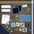 Scrapbooking set best man frames ribbons dividers notes and decorations Stock Photos
