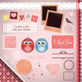 Scrapbooking set i love you cartoon birds frames ribbons dividers notes and decorations Royalty Free Stock Photos
