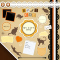 Scrapbooking set my cat s diary frames ribbons dividers notes and decorations Stock Photos