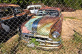 Scrapyard with vintage cars orderville usa july beautiful beside the route on july in orderville usa Stock Images