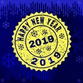 Scratched HAPPY NEW YEAR 2019 Stamp Seal on Winter Background