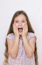 Scream a girl screaming with fright Royalty Free Stock Image