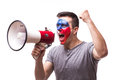 Scream on megaphone Czech  football fan in game supporting of Czech Republic Royalty Free Stock Photo