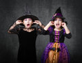 Scream and shout expressions emotions in halloween costumes Stock Photo