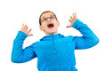 Scream and shout young boy screaming isolated in white Royalty Free Stock Image
