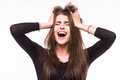 Scream young girl on white background Royalty Free Stock Images