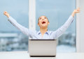 Screaming businesswoman with laptop in office business technology and concept Royalty Free Stock Photos