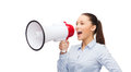 Screaming businesswoman with megaphone business communication and office concept Royalty Free Stock Images