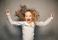 Screaming girl crazy child naughty disobedient kid Stock Image