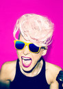 Screaming girl disco punk fashion style Royalty Free Stock Photo