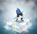 Screaming hockey player on ice cubes sweden vs slovenia quaterfinal game Royalty Free Stock Images