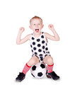 Screaming little football fan Royalty Free Stock Photo
