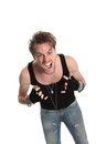 Screaming rocker doing the heavy metal sign Stock Images