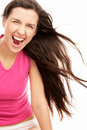 Screaming woman with blowing hair Stock Images