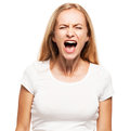Screaming woman isolated on white bacjground emotional stress problems frustration hysterical desperation Stock Photography