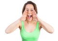 Screaming woman is loud with hands up Stock Photos