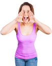 Screaming woman in top is loud with hands up Stock Photo