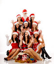 Screaming women and Santa Claus Royalty Free Stock Images
